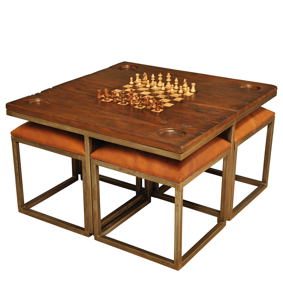 Low game table with stools tan sarreid ltd 25693 geotapseo Image collections